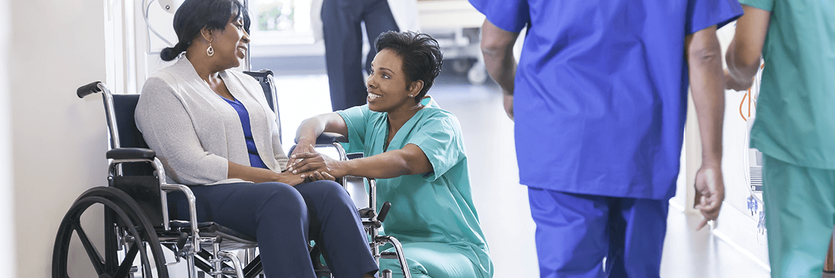 hospital patient with nurse