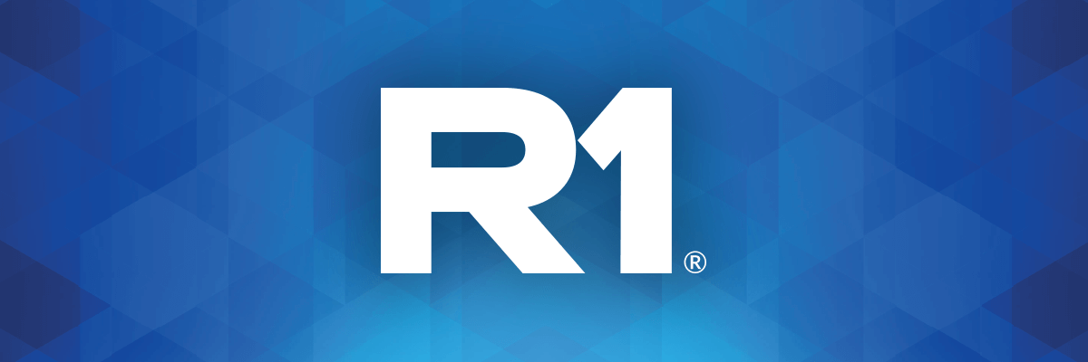 blue background featuring the white R1 logo