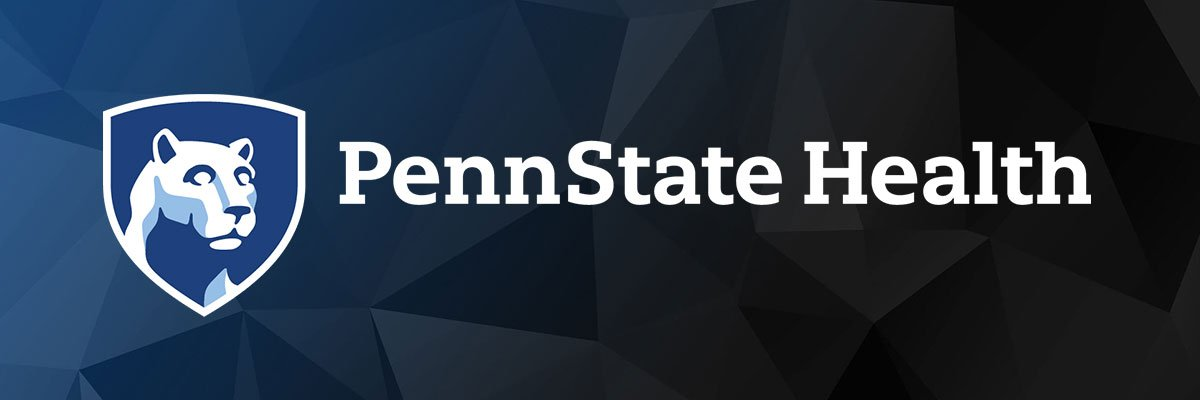 Penn State Health Logo with Blue Background.
