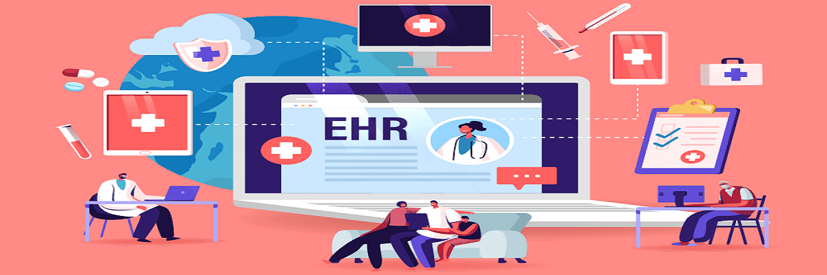 Diagram showing how EHR integrates with disparate IT systems and patient data